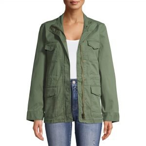 Green utility jacket from Walmart for the fall season.