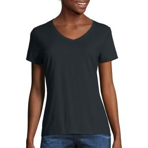 Black v-neck t-shirt from walmart for fall.