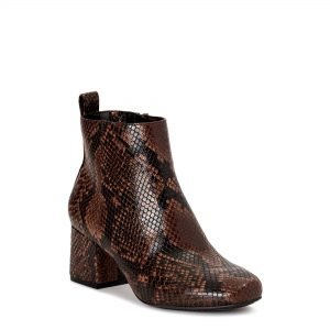 Snake print booties from Walmart that are perfect for the fall.