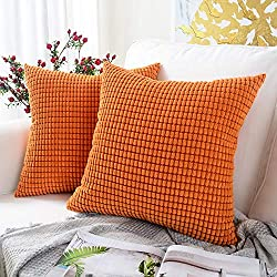 Orange corduroy pillow covers for fall.