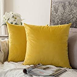 yellow velvet pillow covers